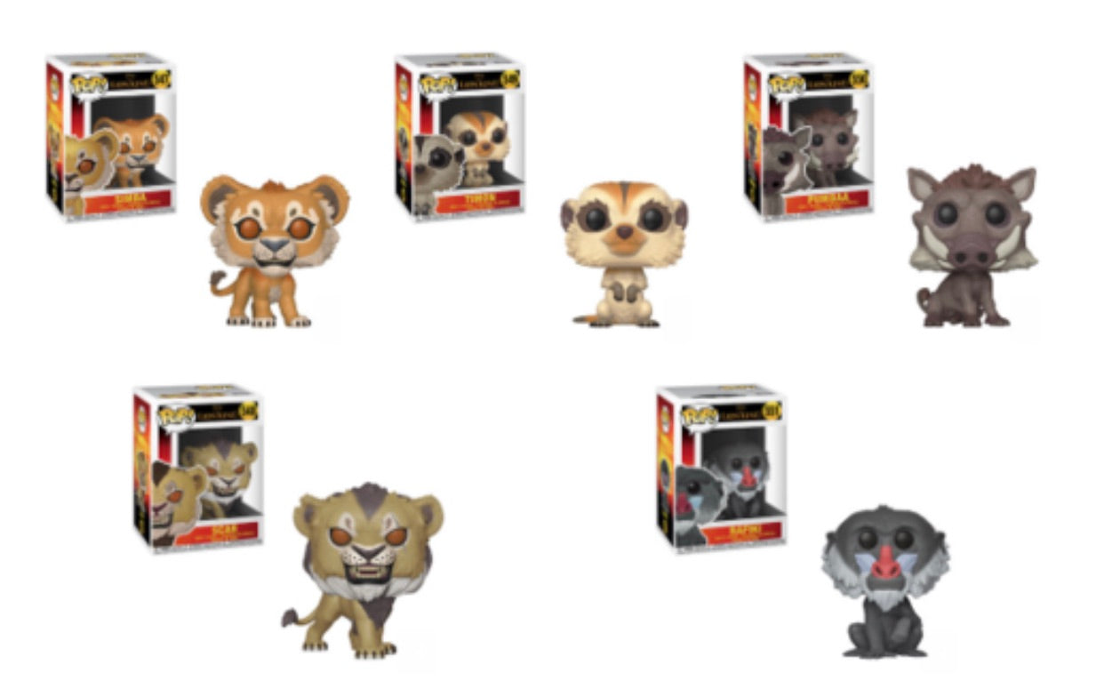 THE LION KING FUNKO POP! COMPLETE SET OF 5 (PRE-ORDER)