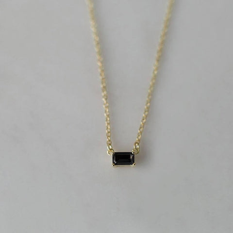 you rock necklace with black crystal by Sophie (gold chain)