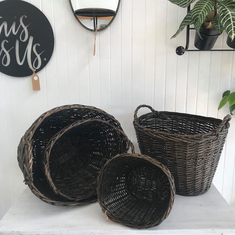 round willow provincial style baskets