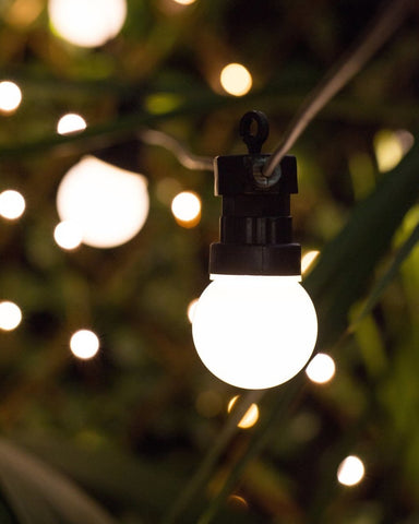 frosted festoon lights - 10 metre black with frosted bulbs