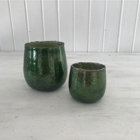 small green votive holder