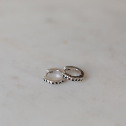 silver mini huggies with black zircons