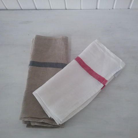 single stripe linen teatowel from French Country