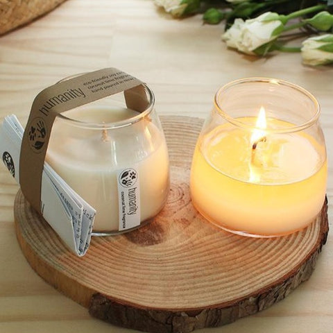 mini humanity soy candle with cotton wick