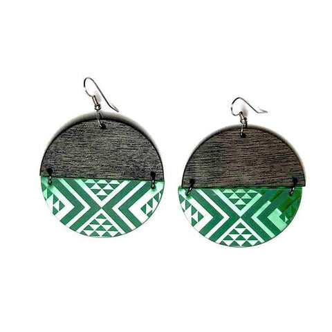 tāniko earrings by nichola - green split