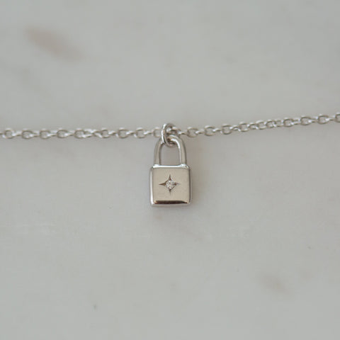 silver little lock necklace by Sophie