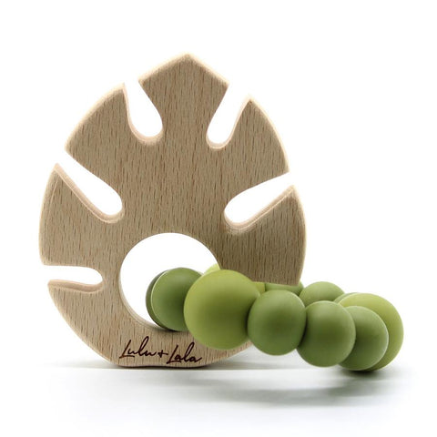 monstera (khaki) - non toxic teethers by Lulu + Lala