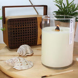 extra large humanity soy candle with wooden wick