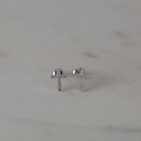 silver clear sparkle cross studs from sophie