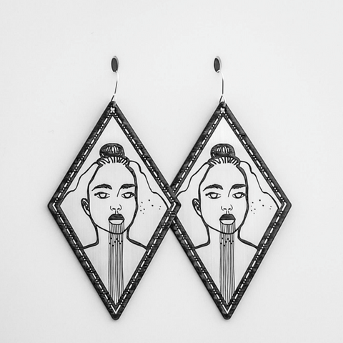 hiwa i te rangi II - silver earrings by nichola