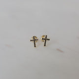 sparkle cross studs black