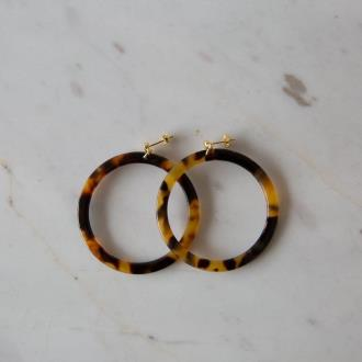 large dark tort hoop earring by Sophie