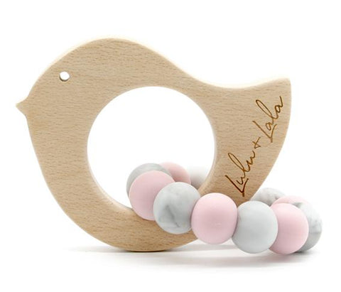 tweet pink and marble - non toxic teethers by Lulu + Lala