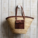 biarritz weaved carry bag with leather pocket