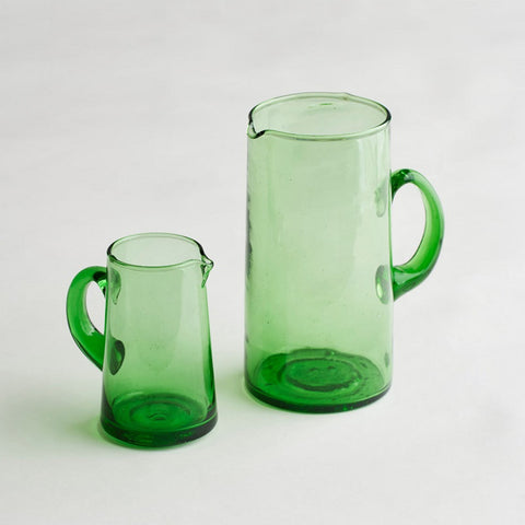green beldi glass jug