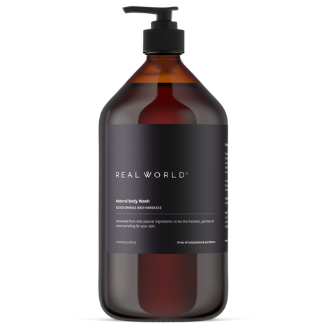 blood orange & harakeke body wash by Real World 1000ml