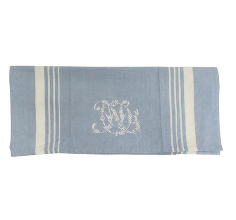 blue embroidered teatowel
