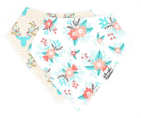 floral and stag set of two bandana bibs by Lulu + Lala