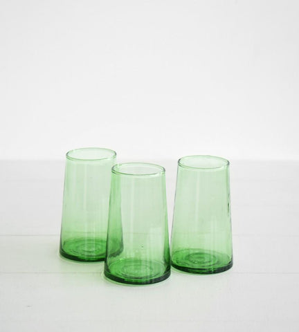 beldi green tapered glass - large