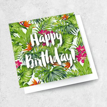 happy birthday green foliage card