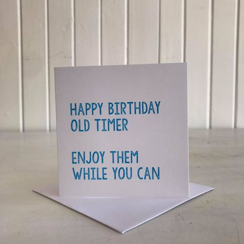 happy birthday old timer card