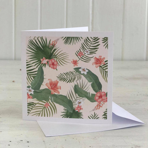 HIBISCUS AND PALM FERN card