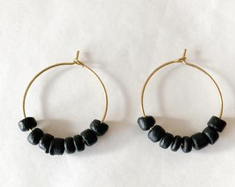 wood bead hoops - black
