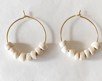 wood bead hoops - cream
