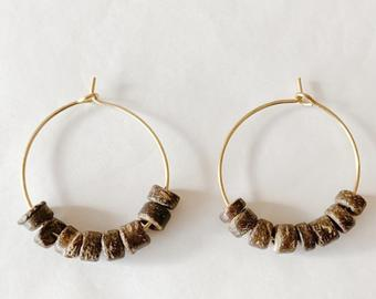 wood bead hoops - brown