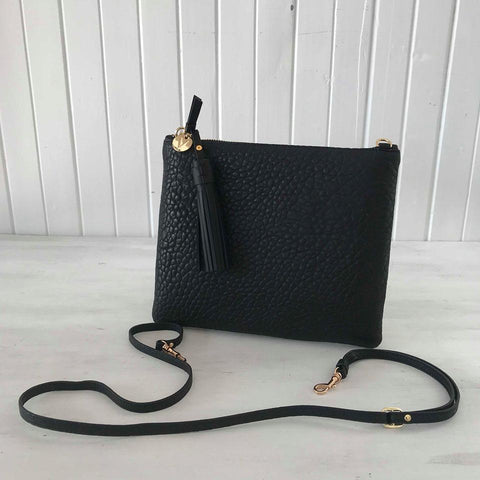 Jem black leather clutch from VASH