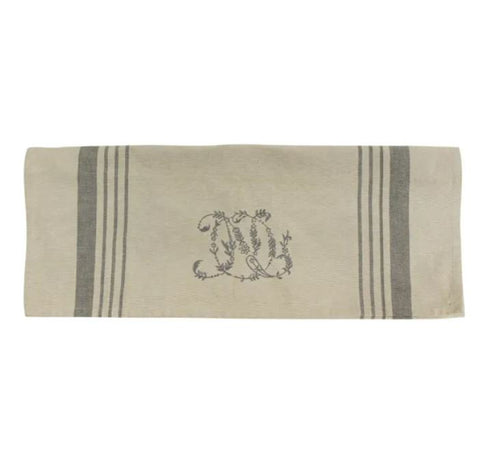 natural embroidered teatowel
