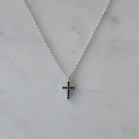 silver sparkle black cross necklace by Sophie