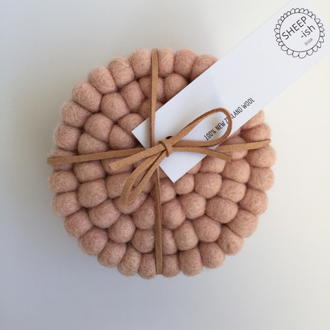 rose wool felt ball coasters