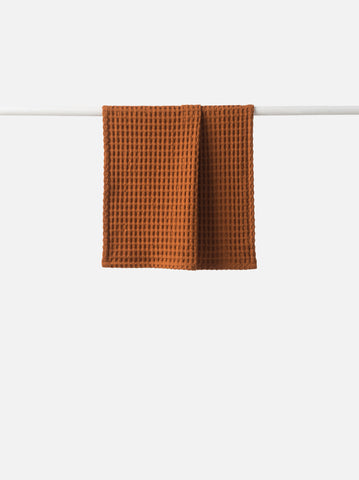 waffle cotton hand towel - chestnut