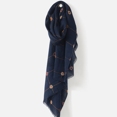 joni wool scarf with fringe - midnight