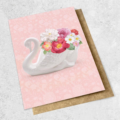 swan with flowers card