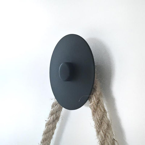 black wall dot hook - large