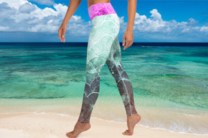 Turquoise Fish scale - Full lenght Leggings