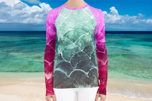 Turquoise Fish scale - Women's Rash Guard