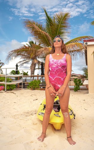 Fushia Fish Scale One-Piece Swimsuit