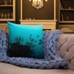 Turquoise fish scale x Underwater Premium Pillow