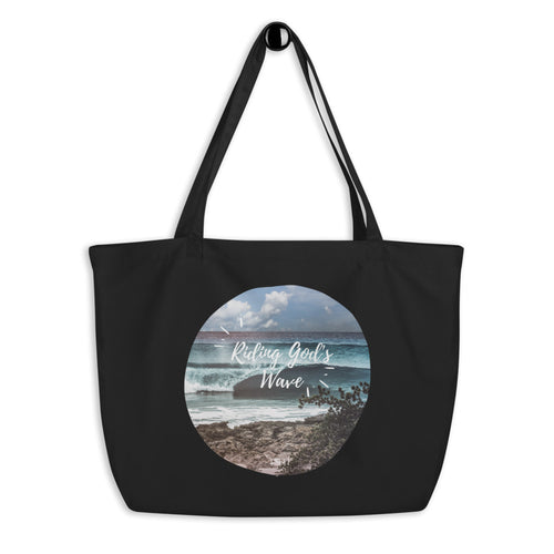 Riding God's wave - Large organic tote bag