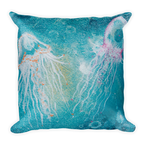 Double side Jelly Fish x Mermaid Scale Square Pillow