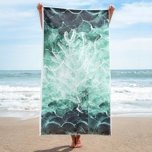 Sea Fan- Fish scale turquoise beach Towel