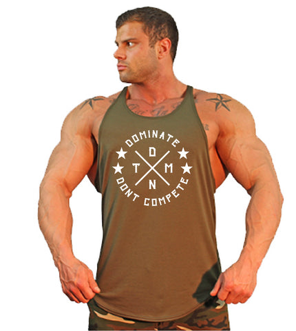 Men's Y-Back Stringer Tank Top - Military Green