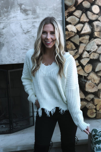 Capture This Moment Frayed Sweater