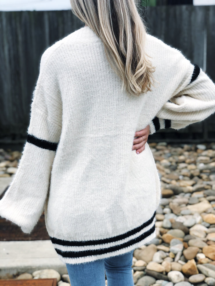 Mia Striped Open Cardigan