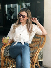 Cobblestone Button Down Tie Blouse