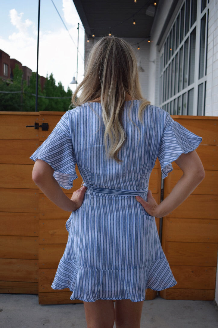 Trista Stripe Wrap Dress