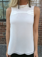 Emma Sleeveless White Top